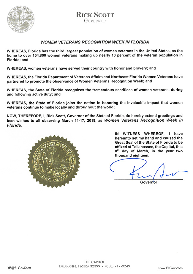 2018 Women Veterans Recognition Week in Florida Proclamation