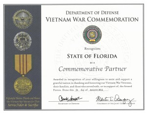 State of Florida Commemorative Partner Certificate