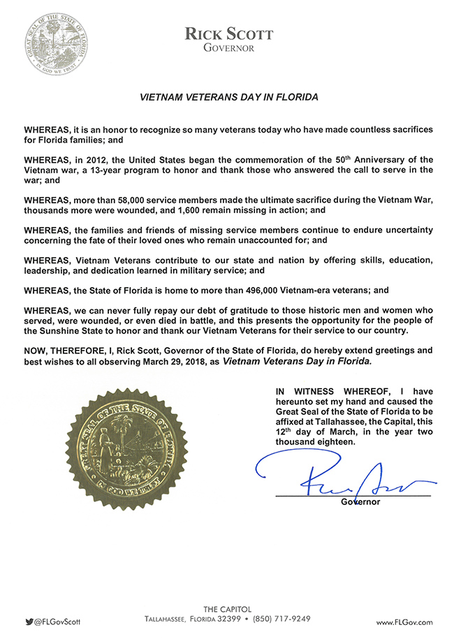 2018 Vietnam Veterans Day in Florida Proclamation