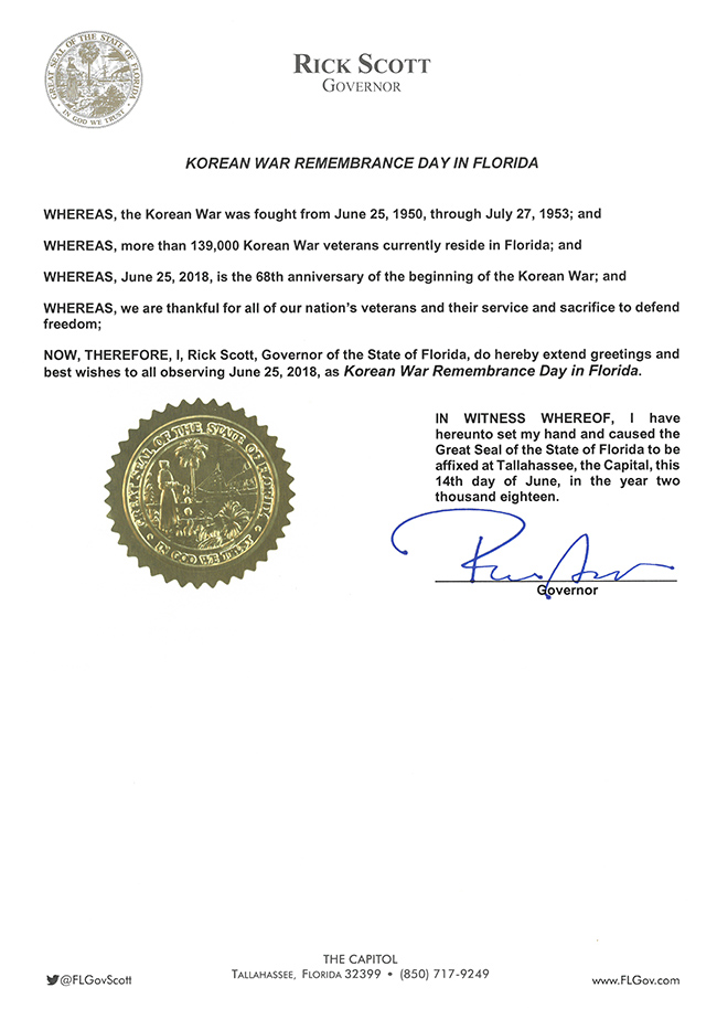 2018 Korean-War Remembrance Day Proclamation