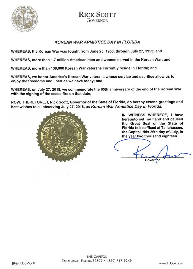Korean War Armistice Day Proclamation
