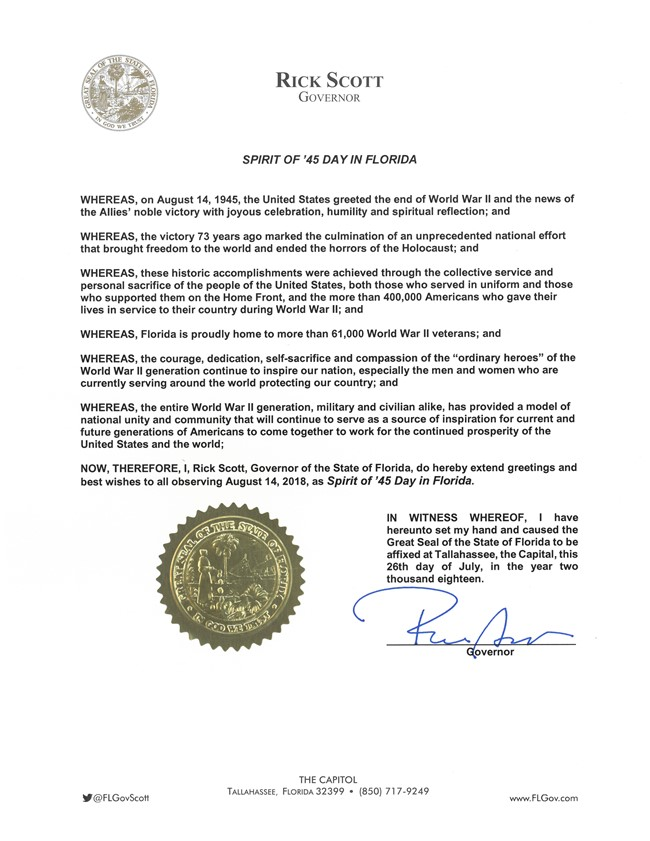 Spirit of 45 Day in Florida Proclamation