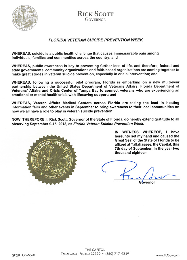 2018 Florida Veteran Suicide Prevention Week Proclamation
