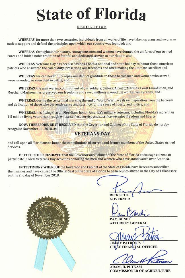 2018 Veterans Day Resolution