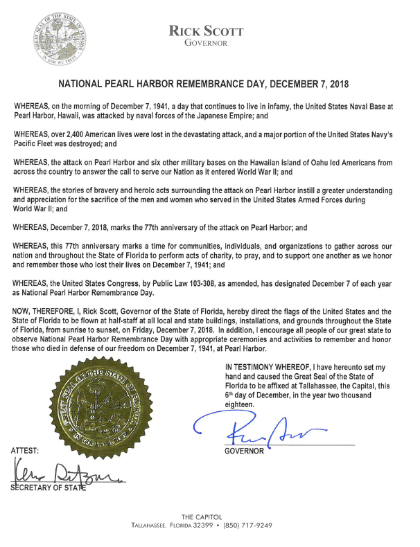 pearl Harbor Remembrance Day proclamation
