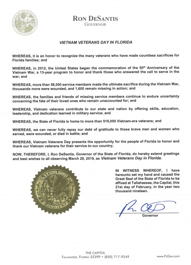 2019 Vietnam Veterans Day in Florida Proclamation