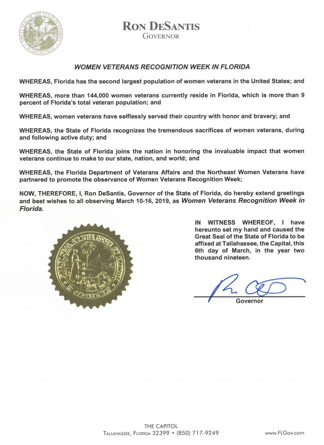 2019 Women Veterans Recognition Week in Florida Proclamation