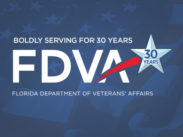 FDVA logo. Proudly serving for 30 years.