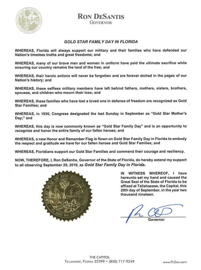 Gold Star Family Day in Florida 2019 Proclamation