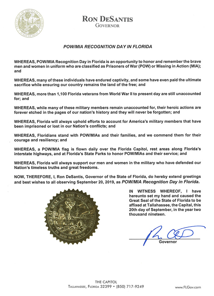 POW MIA Recognition Day in Florida 2019 Proclamation