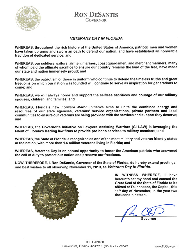 2019 Veterans Day in Florida Proclamation