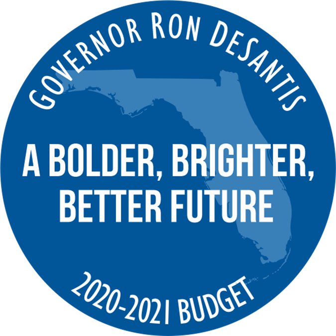 Governor Ron DeSantis. a bolder, brighter, beter future. 2020-2021 budget