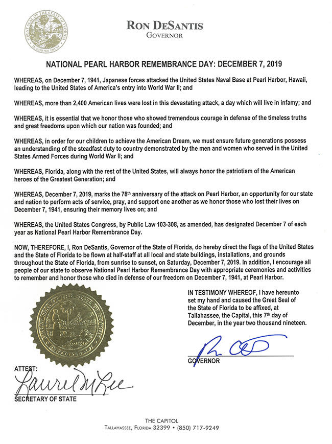 2019 Pearl Harbor Remembrance Day Proclamation