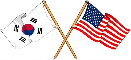Korean and US flags