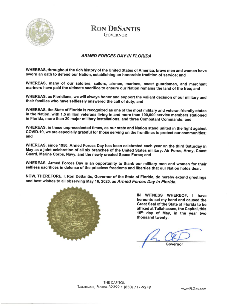 Armed Forces Day in Florida Proclamation