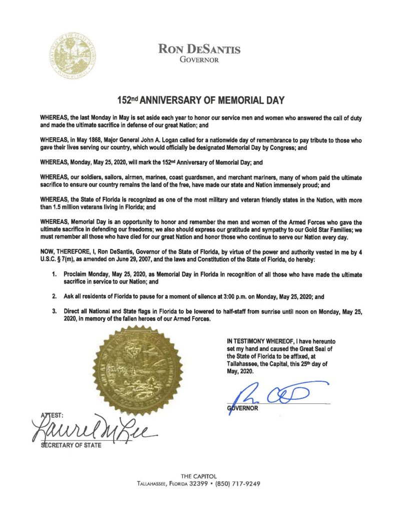 152nd Anniversary of Memorial Day Proclamation