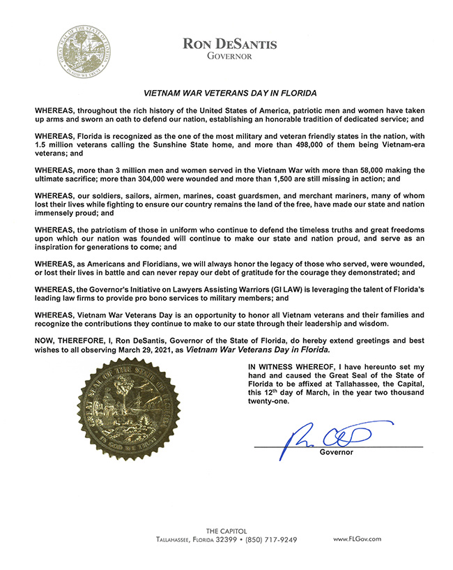 2021 Vietnam War Veterans Day in Florida Proclamation