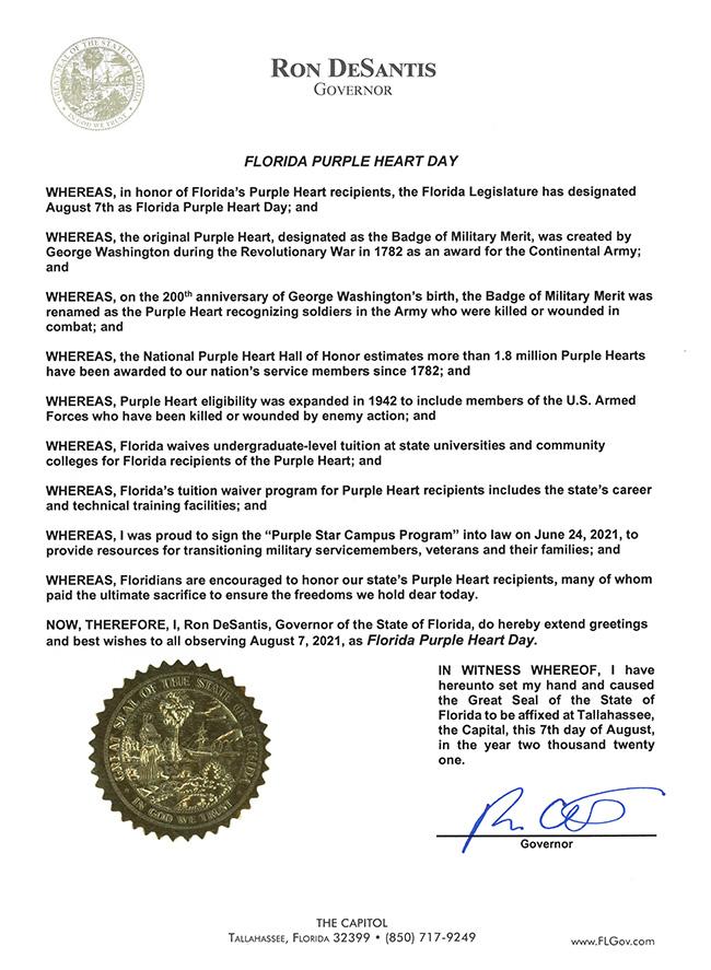 2021 Florida Purple Heart Day Proclamation